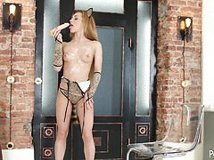 Sexy kitten Sonya Sweet teases on camera and plays with ice cream and her favorite dildo